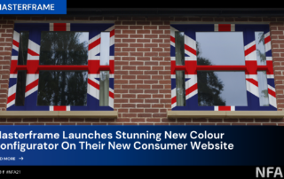 image depicts window frames painted in a union jack style